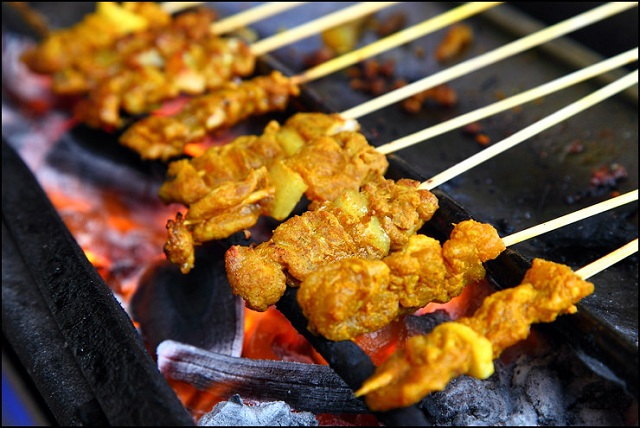 The famous pork satay.