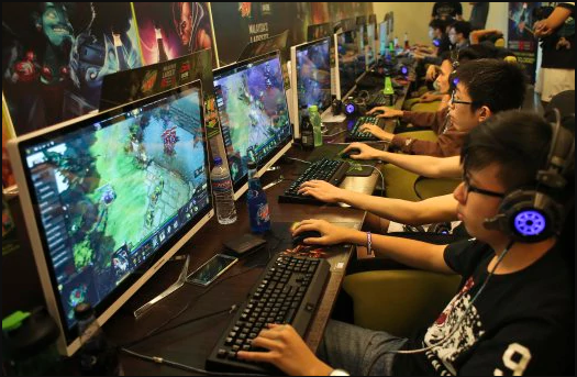 Malaysian gamers battling it out in a 'Dota 2' tournament.