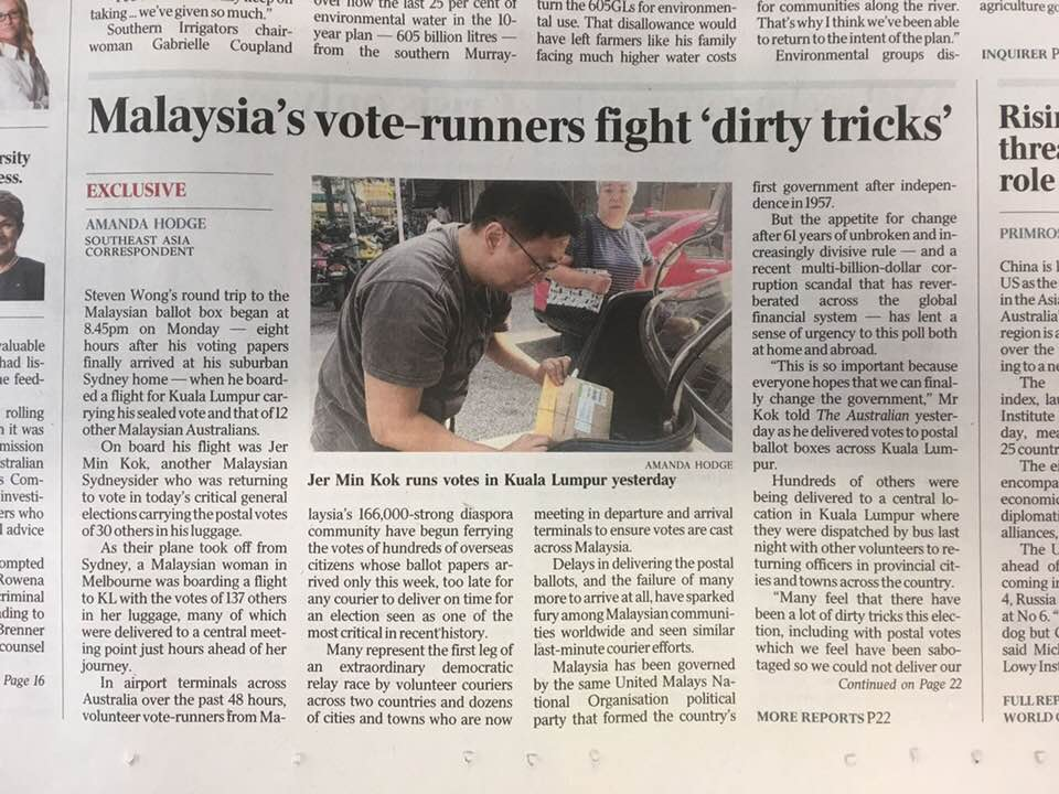 An Australian daily covered the story of one Malaysian who willingly helped fellow Malaysians there to hand-carry their votes back home.