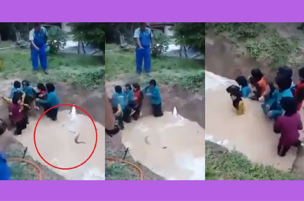 Schoolgirls Forced to Walk Through A Muddy Pit Filled With Snakes