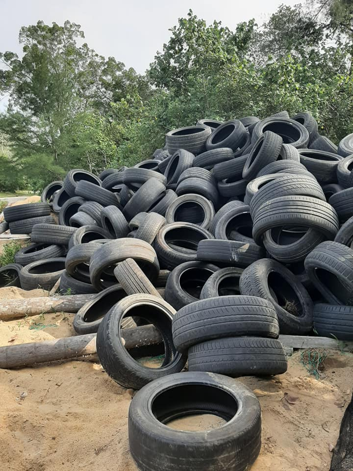 A mountain of tyres.