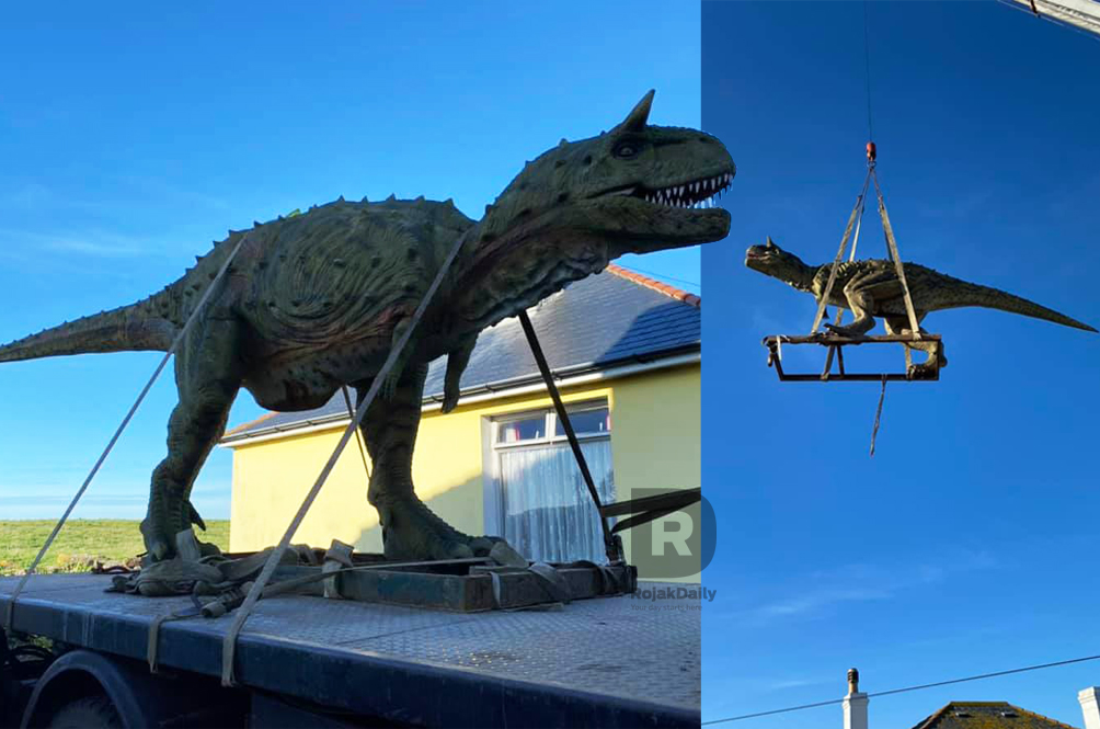 Dad Orders Dinosaur Toy For Son, Didn't Know It Was Life-Sized Until It Arrived In A Crane