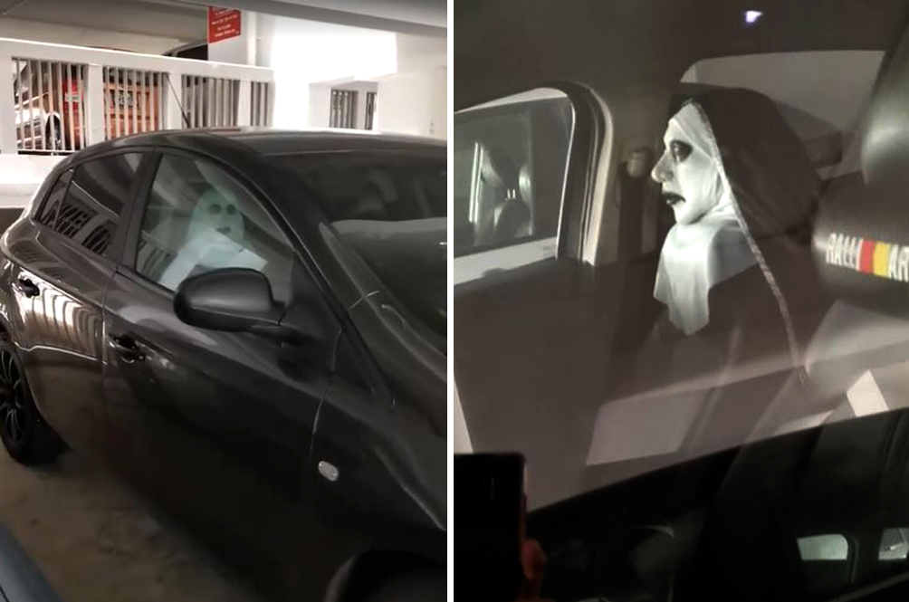 Singaporean Uses Valak The Nun Car Seat Cushion, And It's Actually Pretty Creepy