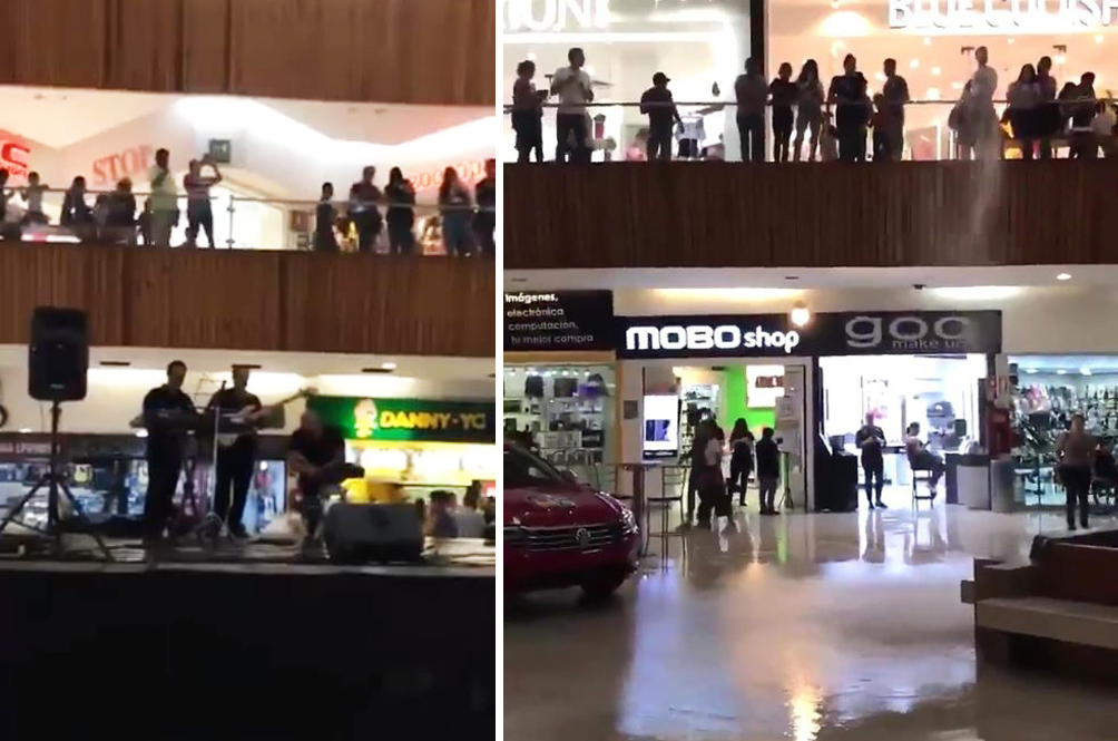 As Heavy Rain Floods Shopping Mall, Live Band Starts Playing 'Titanic' Theme Song