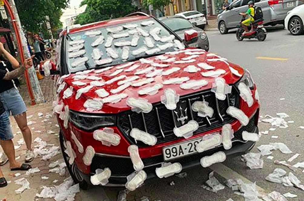 Man Finds His Maserati Covered In Sanitary Pads For Parking Illegally