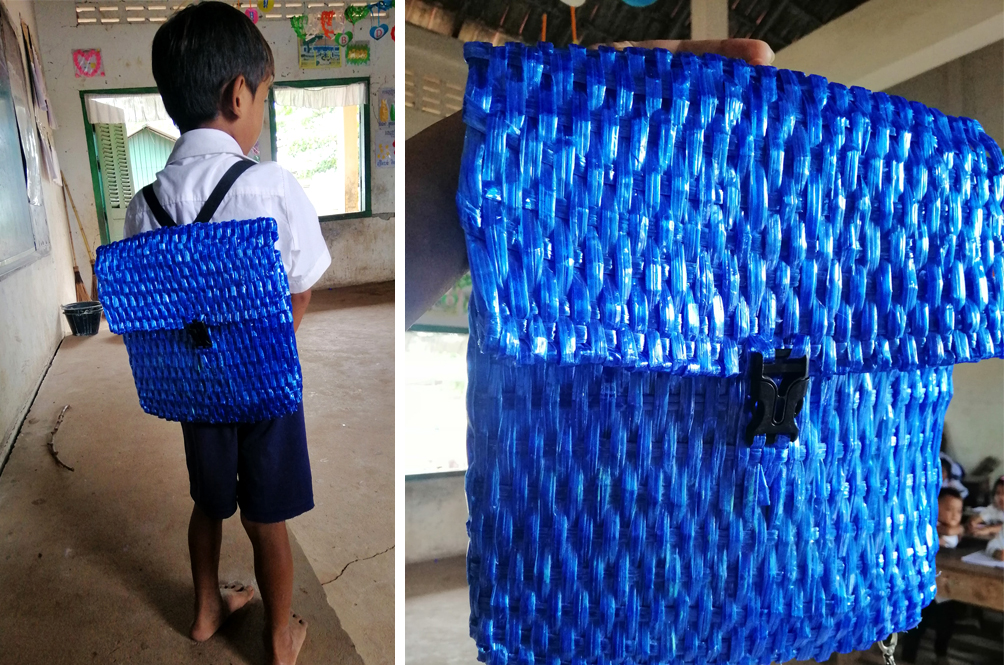 Man Weaves A School Bag For His Son Because He Couldn't Afford To Buy Him One