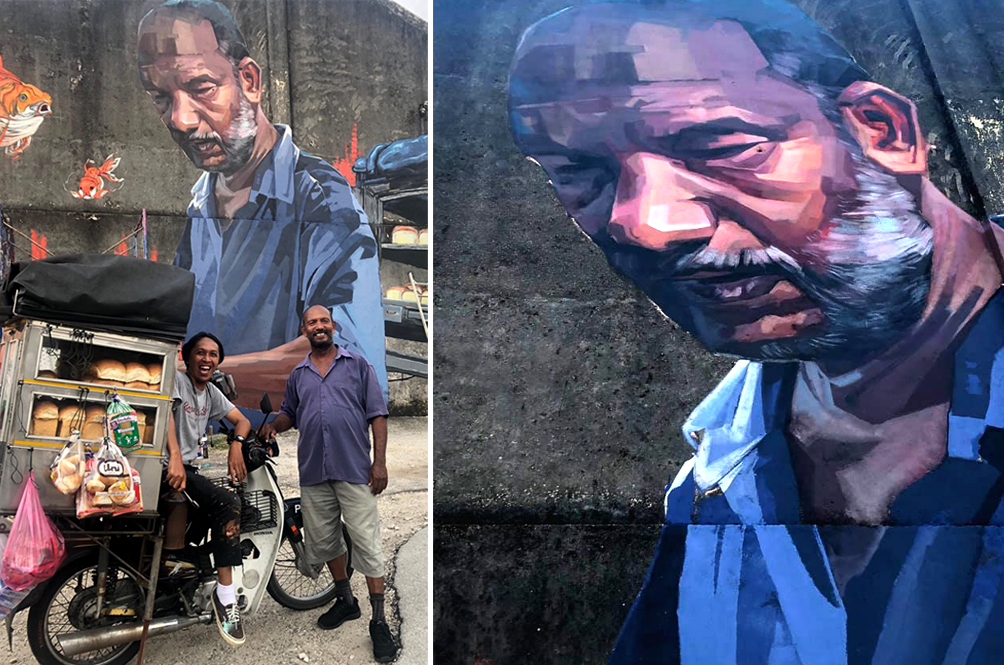 Street Artist Shows Love For Hardworking Bread Man By Painting A Mural Of Him In Penang