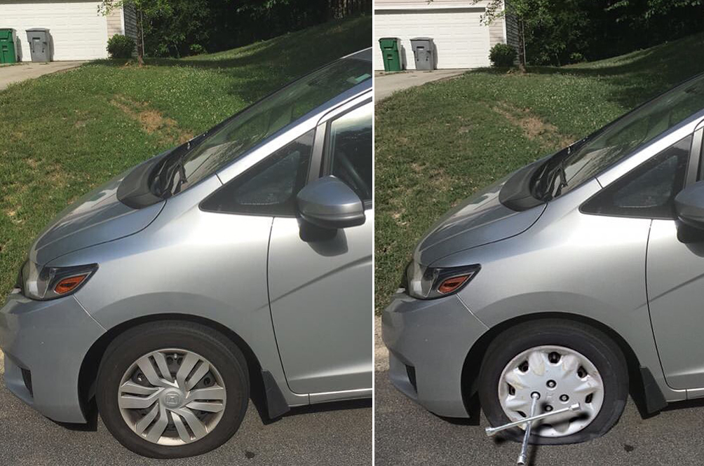 Man Photoshops Flat Tyre On His Car So That He Could Skip Work