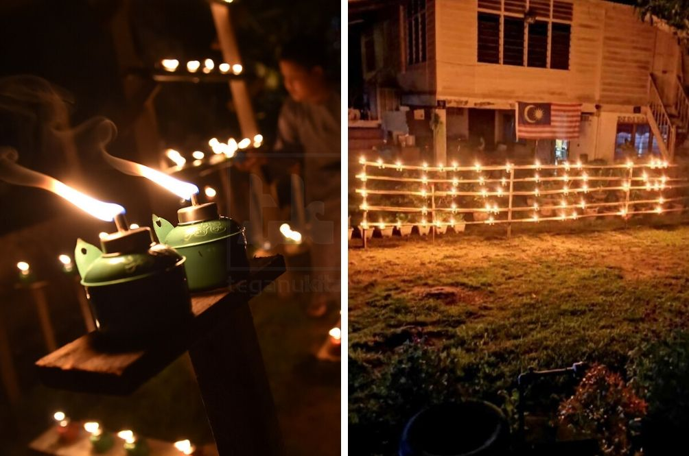 Ingenious Villager Puts Up Hari Raya Oil Lamps To Spell COVID-19