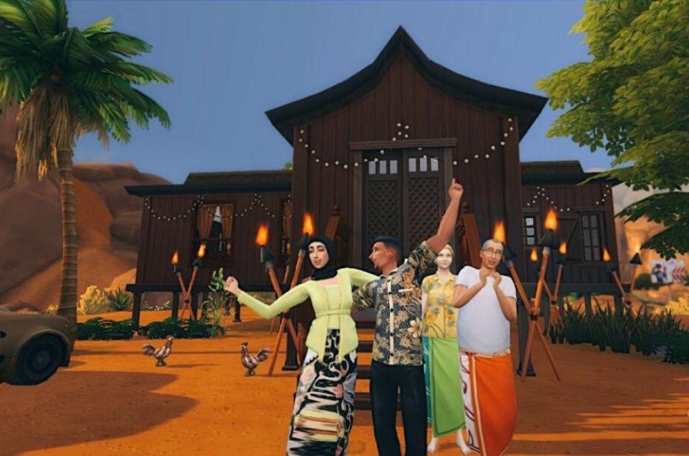 Gamer Creates Virtual Hari Raya Moments Including A Family Kampung Photoshoot