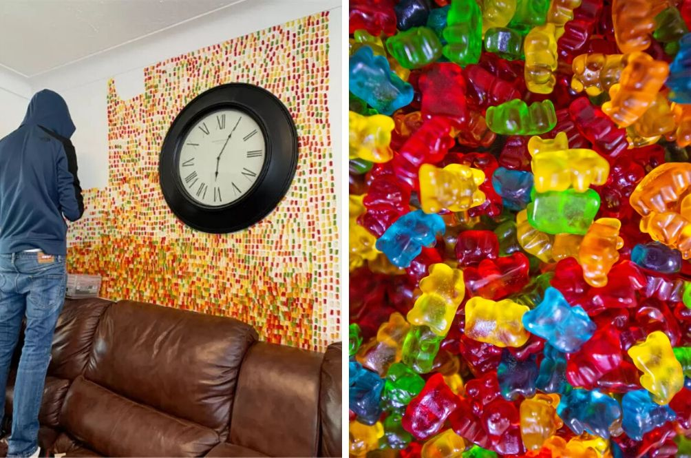 Man Sticks 6,000 Gummy Bears To House Wall After Partner Asks Him To Decorate It 'Tastefully'