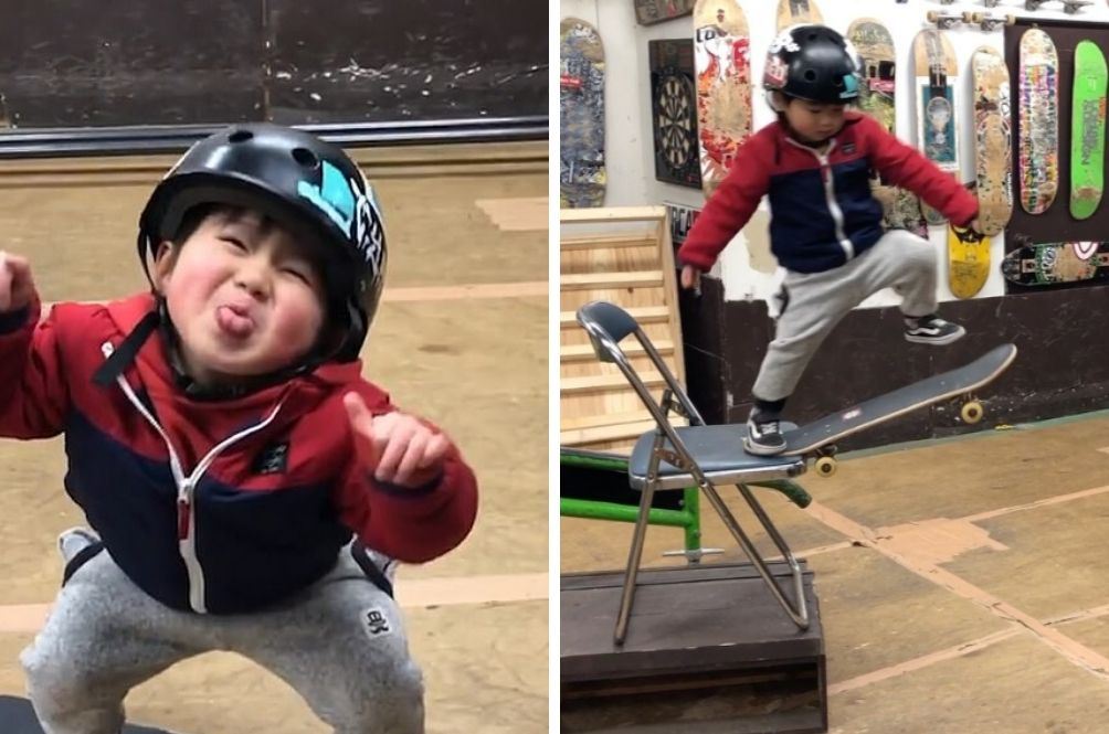 Adorable Three-Year-Old's Skateboard Tricks Are Mesmerising!