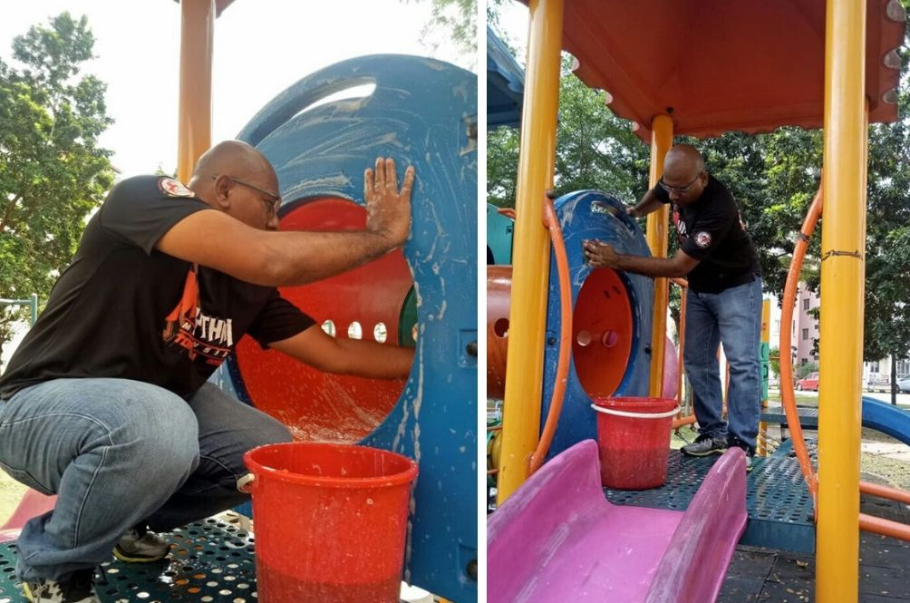 A Selfless Act: Malaysian Man Washes Playgrounds To Keep Children Safe From Coronavirus