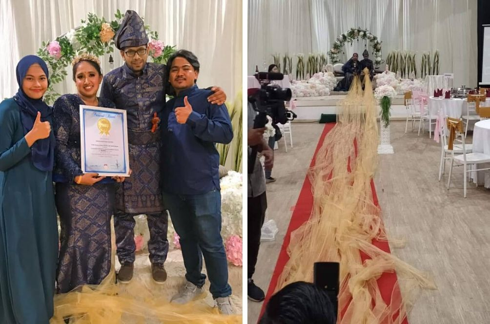 Indian Couple Makes It Into Record Books For Longest Ribbon Attached To Gown In Malay-Themed Wedding