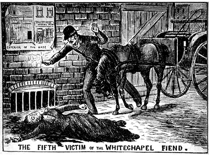 An early newspaper illustration depicting the discovery of Jack the Ripper's victims