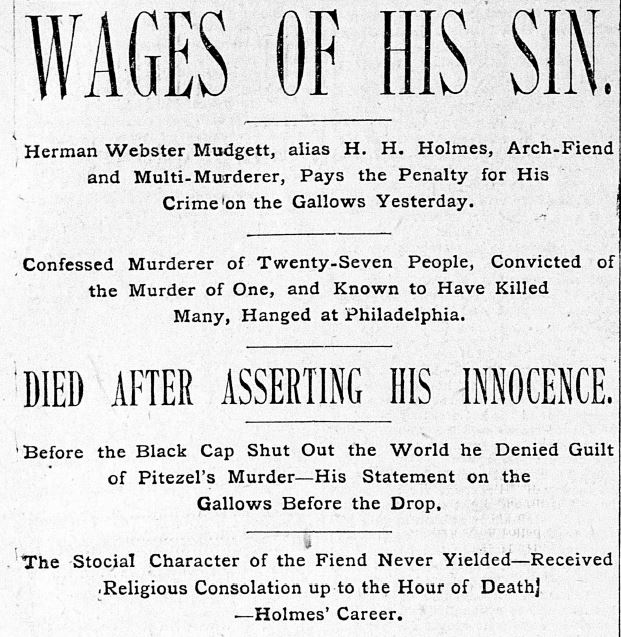 A newspaper clipping on the day after H.H. Holmes' hanging