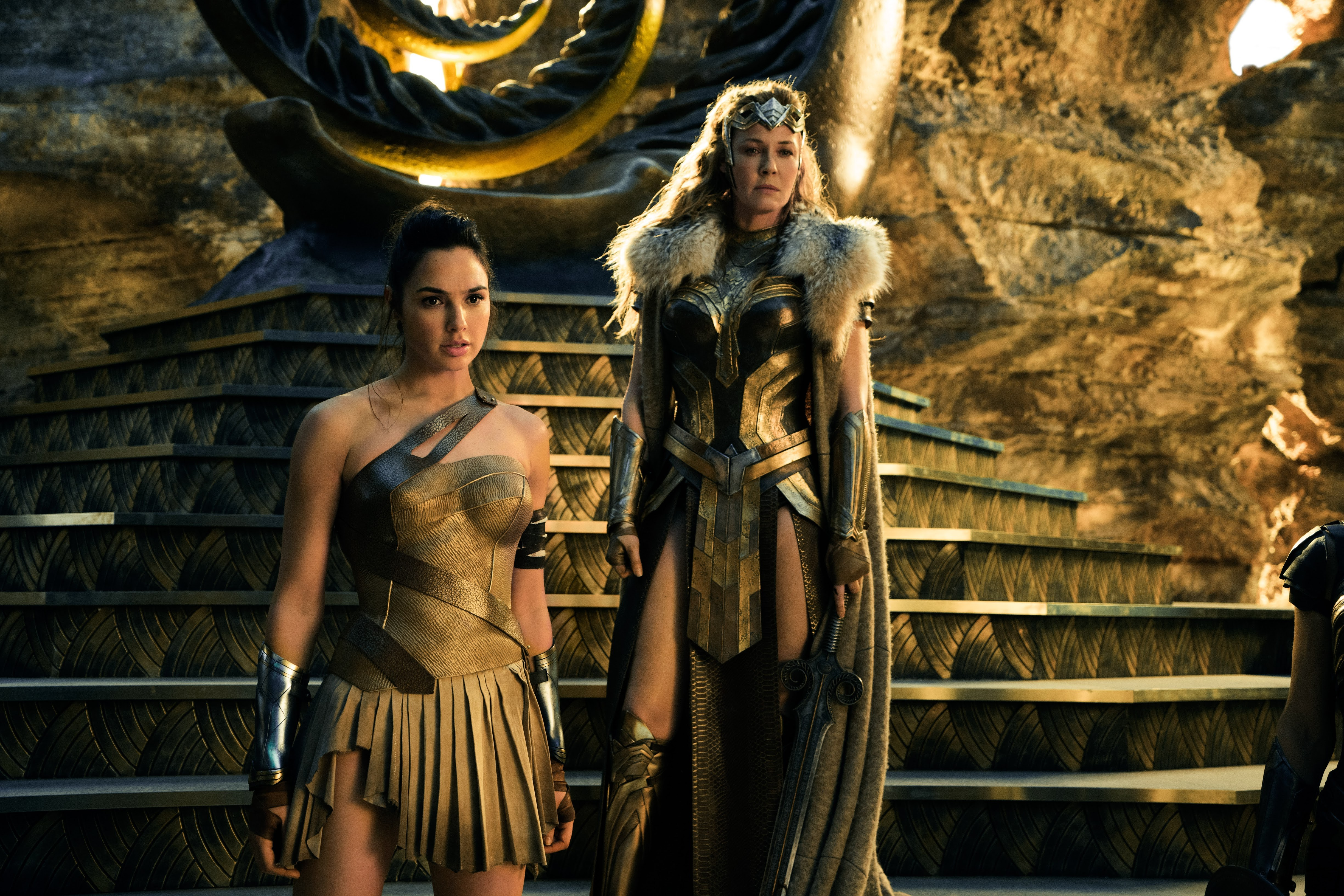 Wonder Woman and her mom Hippolyta. Just hanging out.