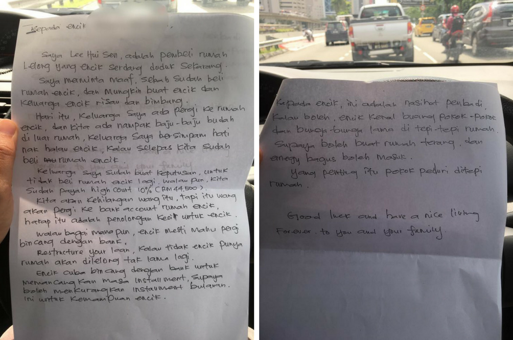 This Malaysian Gives up RM44,500 Down Payment for a House to a Stranger and Left him a Note Instead