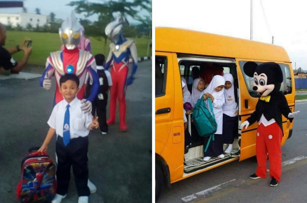 Mickey Mouse and Ultraman Greet Kids on Their First Day of School