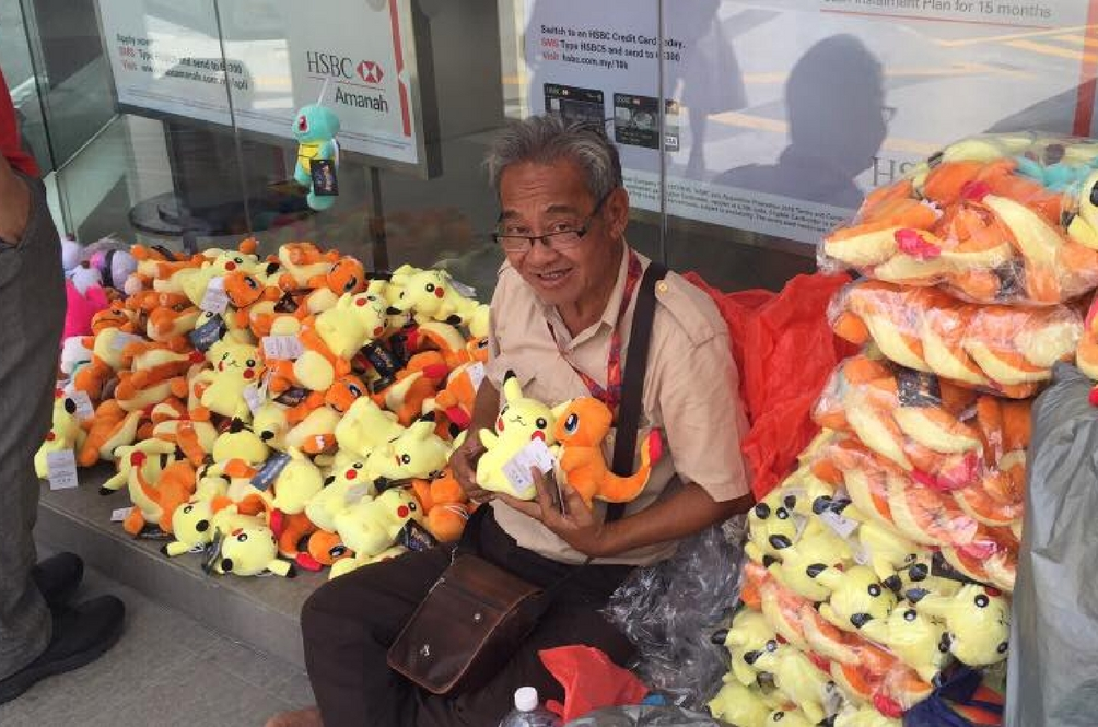 Uncle David and his plushies.