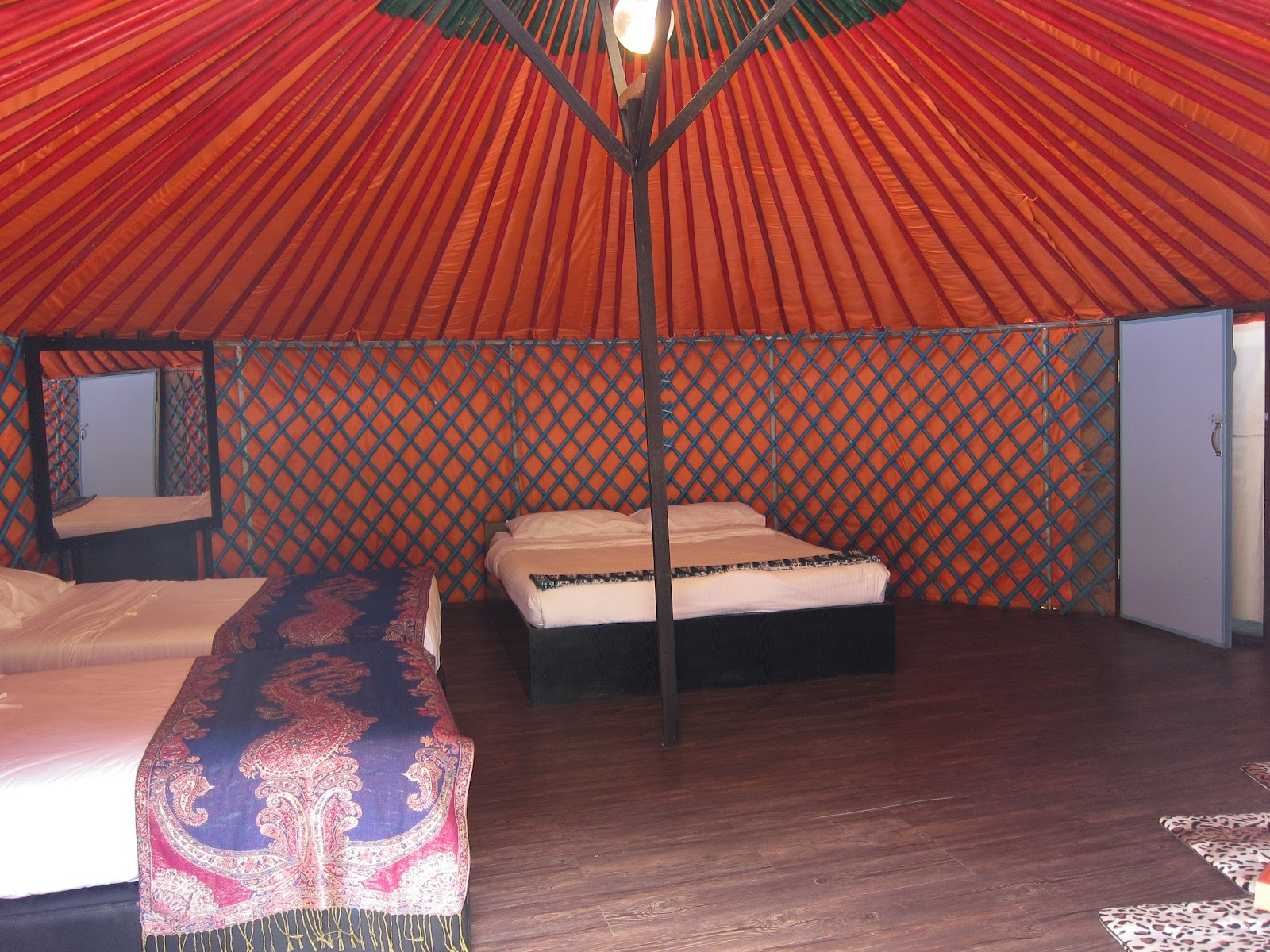 The yurt's interiors are decked out in Mongolian inspired designs.