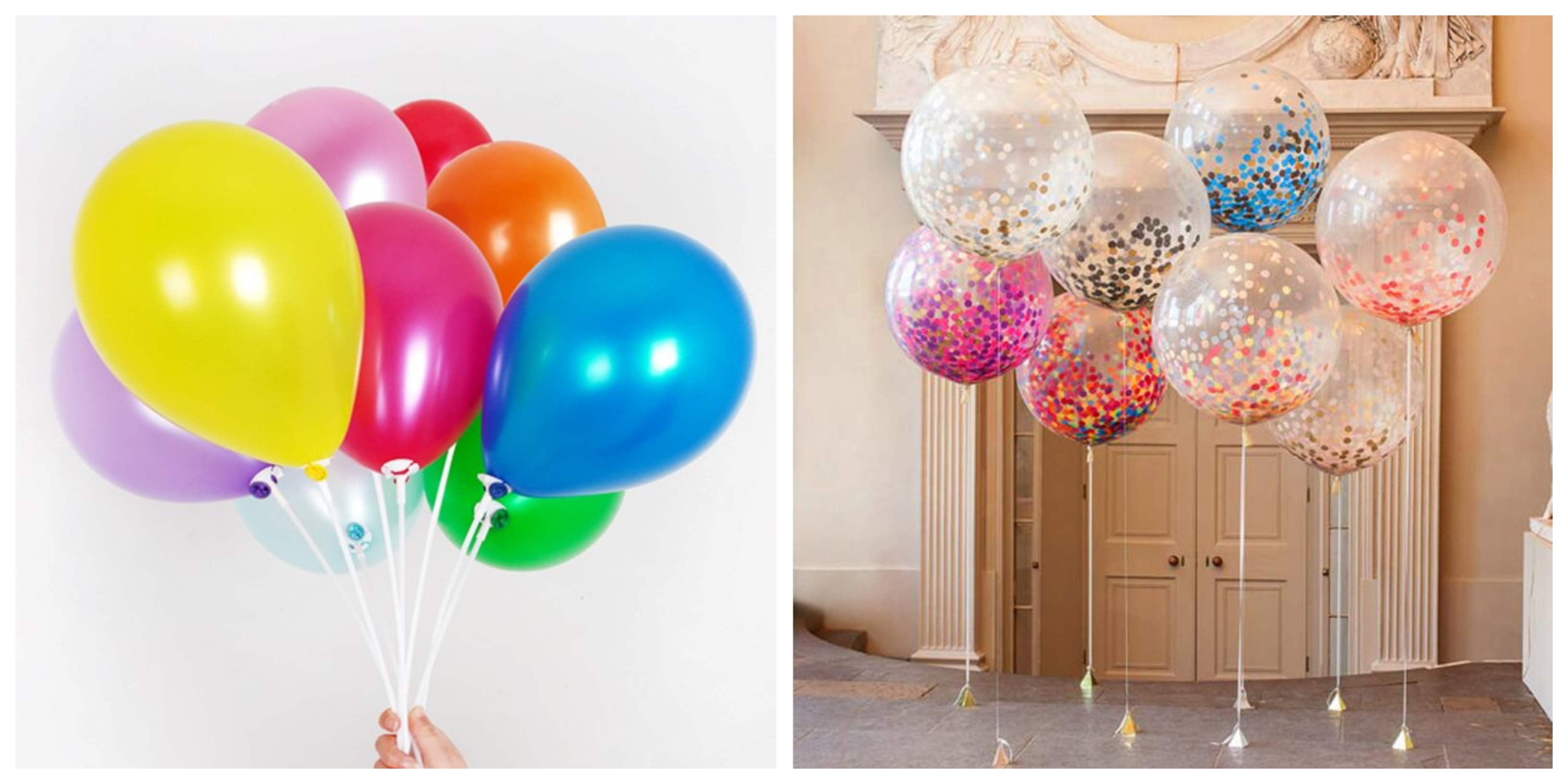 You can opt for solid-coloured balloons or clear ones!