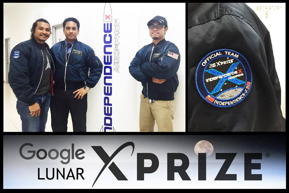 Posing with their flight jackets and GLXP mission patch.