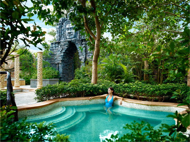 Experience Cambodia's ancient rock work while enjoying the springs.