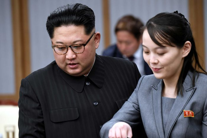 Kim Jong Un with his sister, Kim Yo Jong who is believed to be his successor