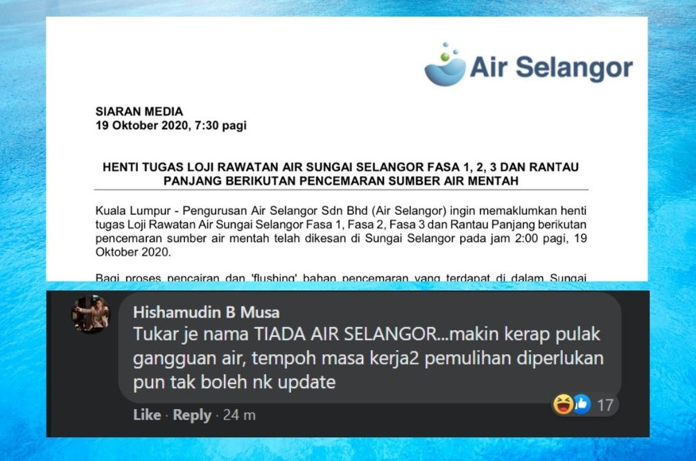 Malaysians Cope With Latest Air Selangor Water Cut With Sarcasm And Humour, As Always