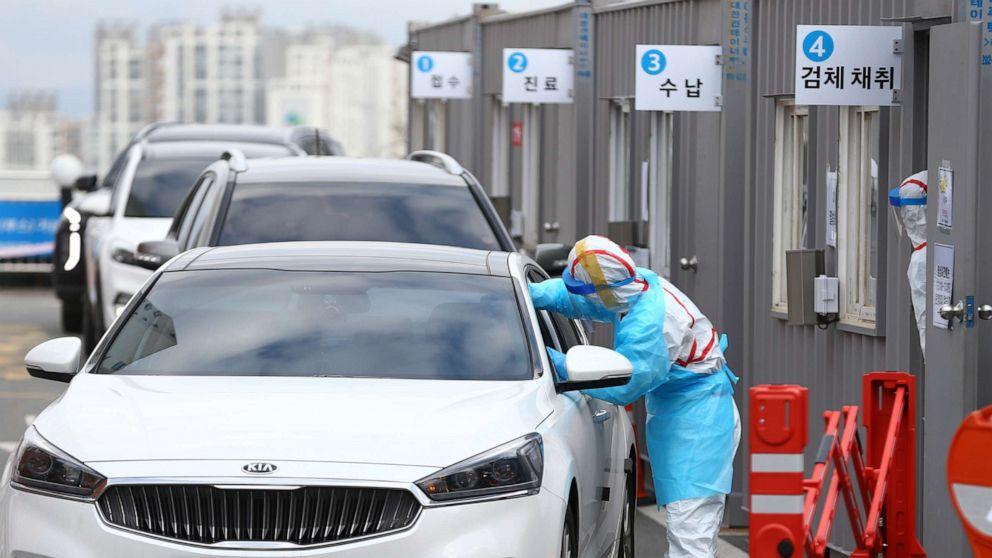 Drive-thru Covid-19 test in South Korea