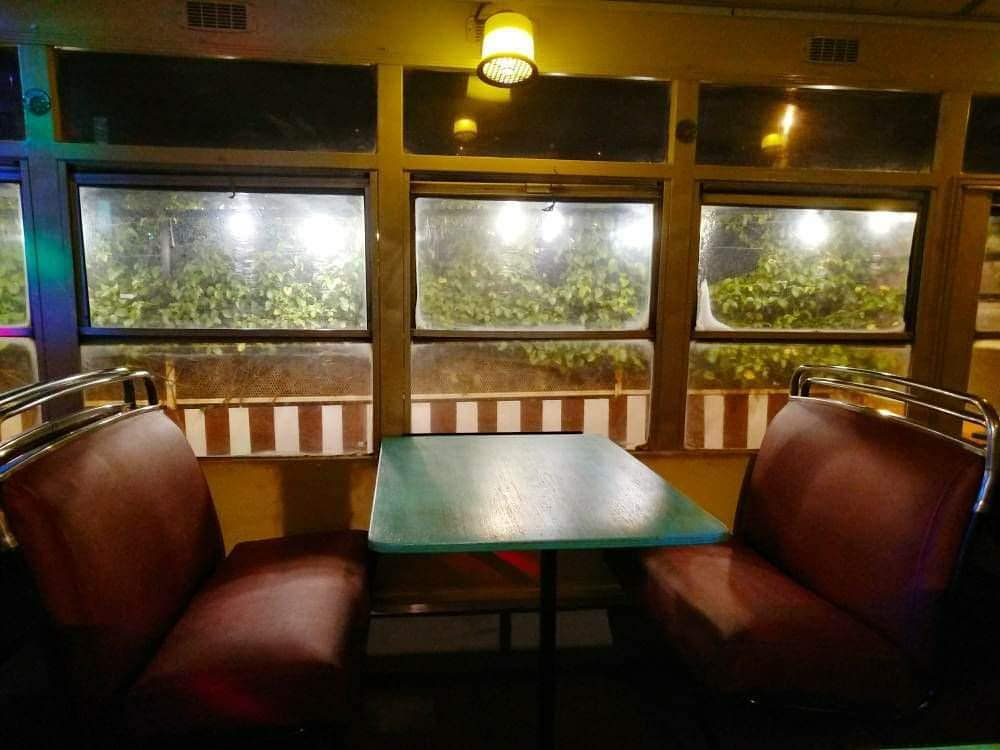 Dine in an old, refurbished bus