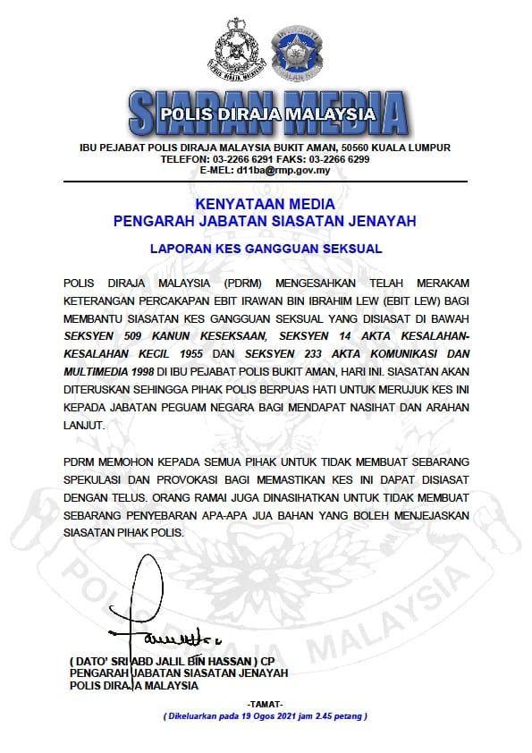 Statement from the police