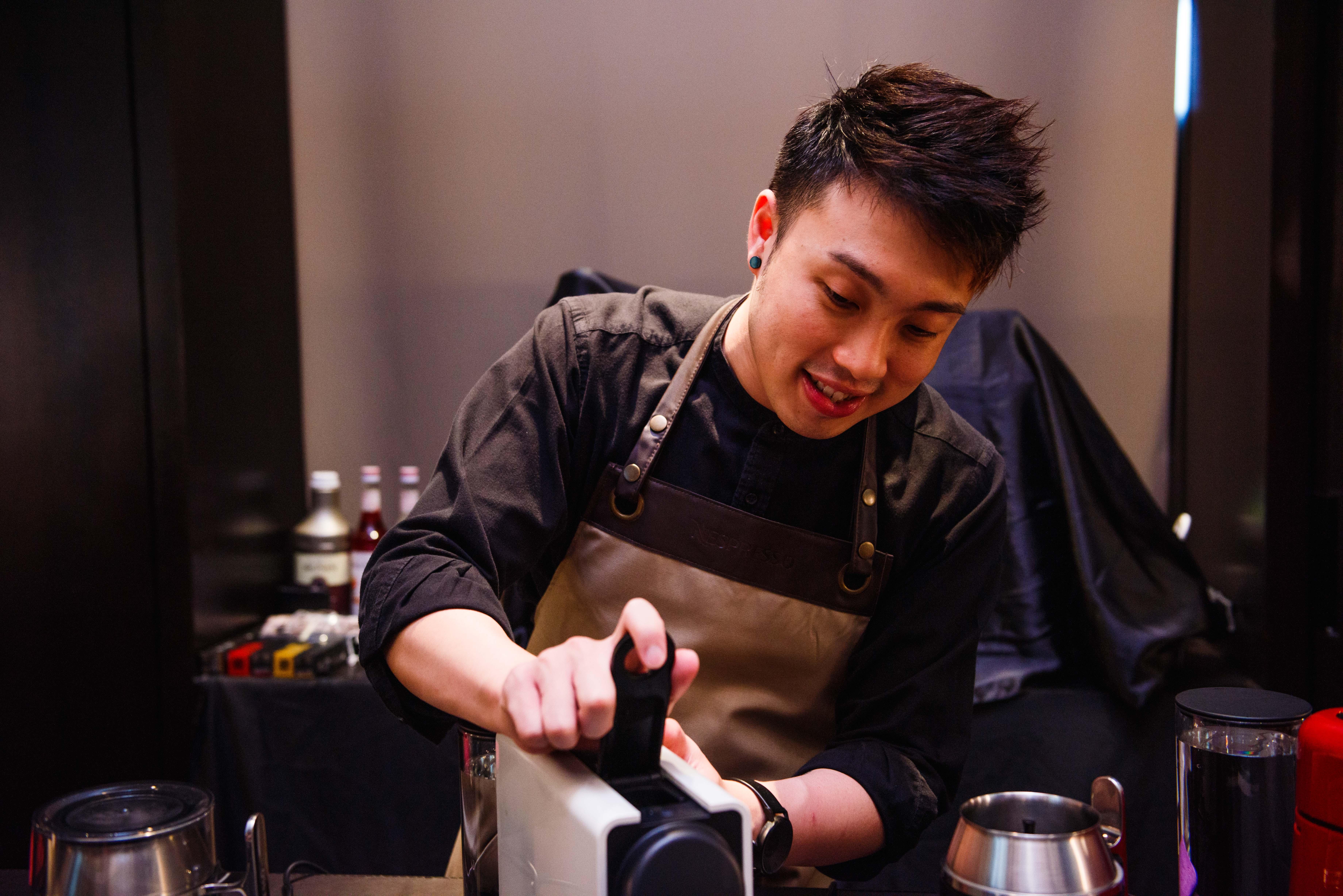 Award-winning barista Shaun Liew showing guests how it's done