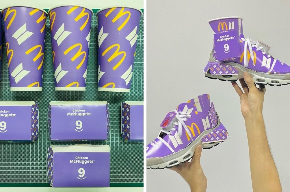 Singapore Artist Turns McDonald's BTS Meal Packaging Into Custom Sneakers