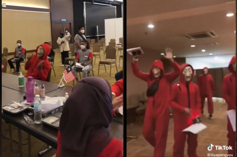 Gang Of Four Turn Up At Penang Vaccination Centre Dressed Up As Money Heist Thieves