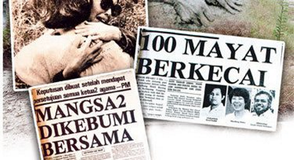Newspaper clippings of the MH653 tragedy
