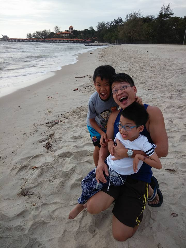 Edmund Lim and his two sons Jaden and Branden (front)