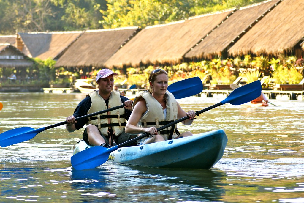 Kayaking is a popular way to explore the river.