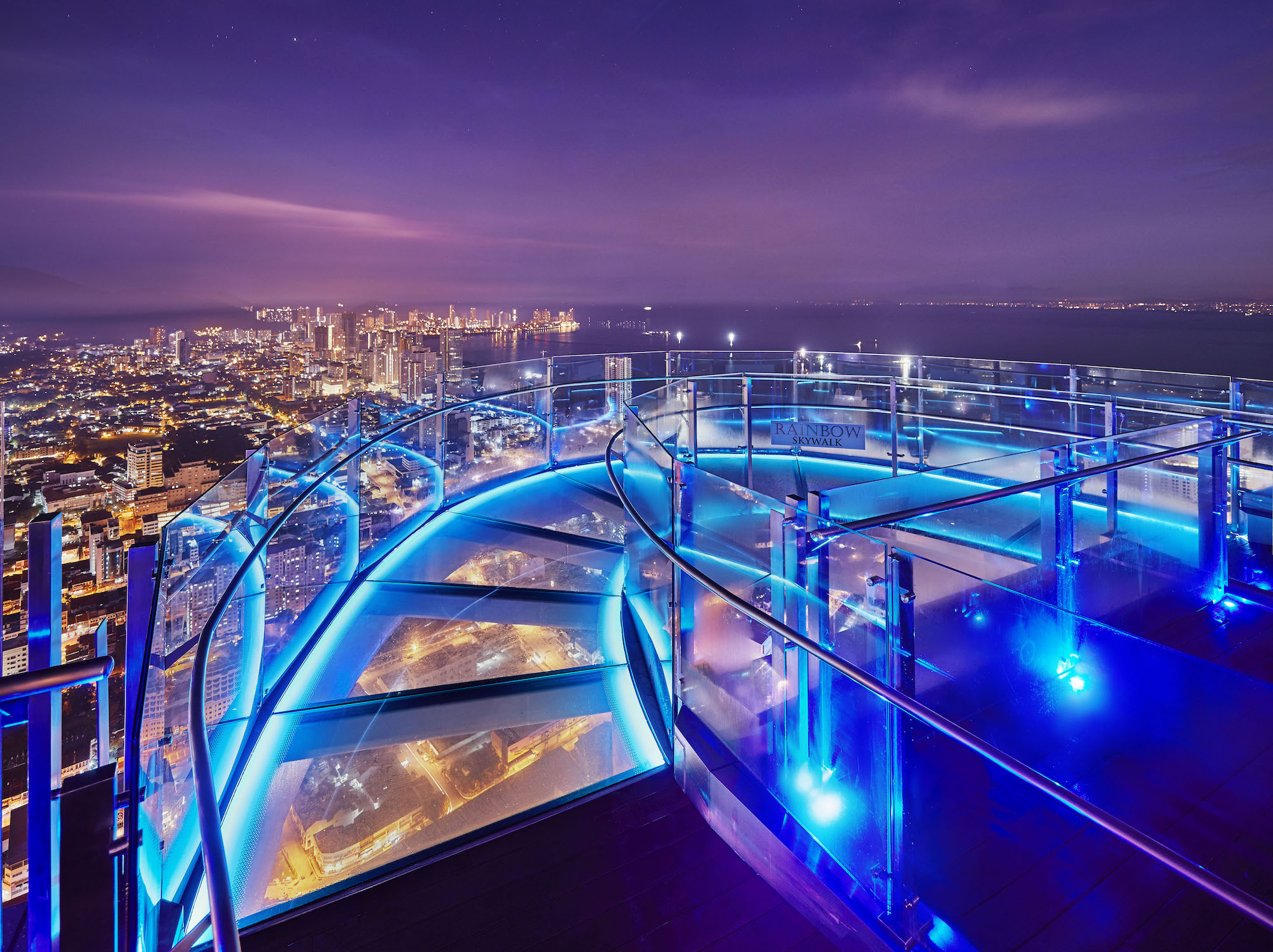 Rainbow Skywalk at night.