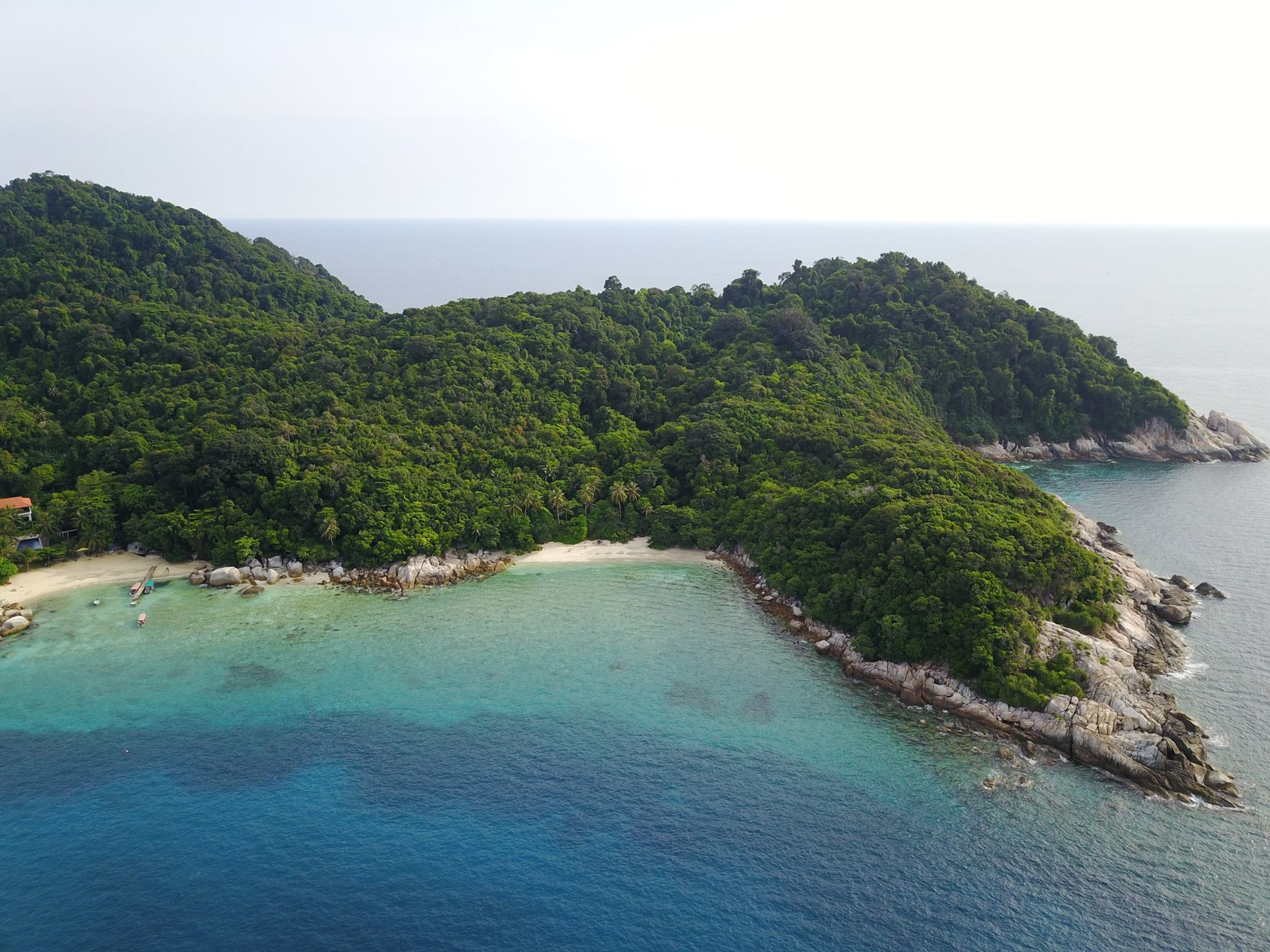 Aerial view of the largely undeveloped island.