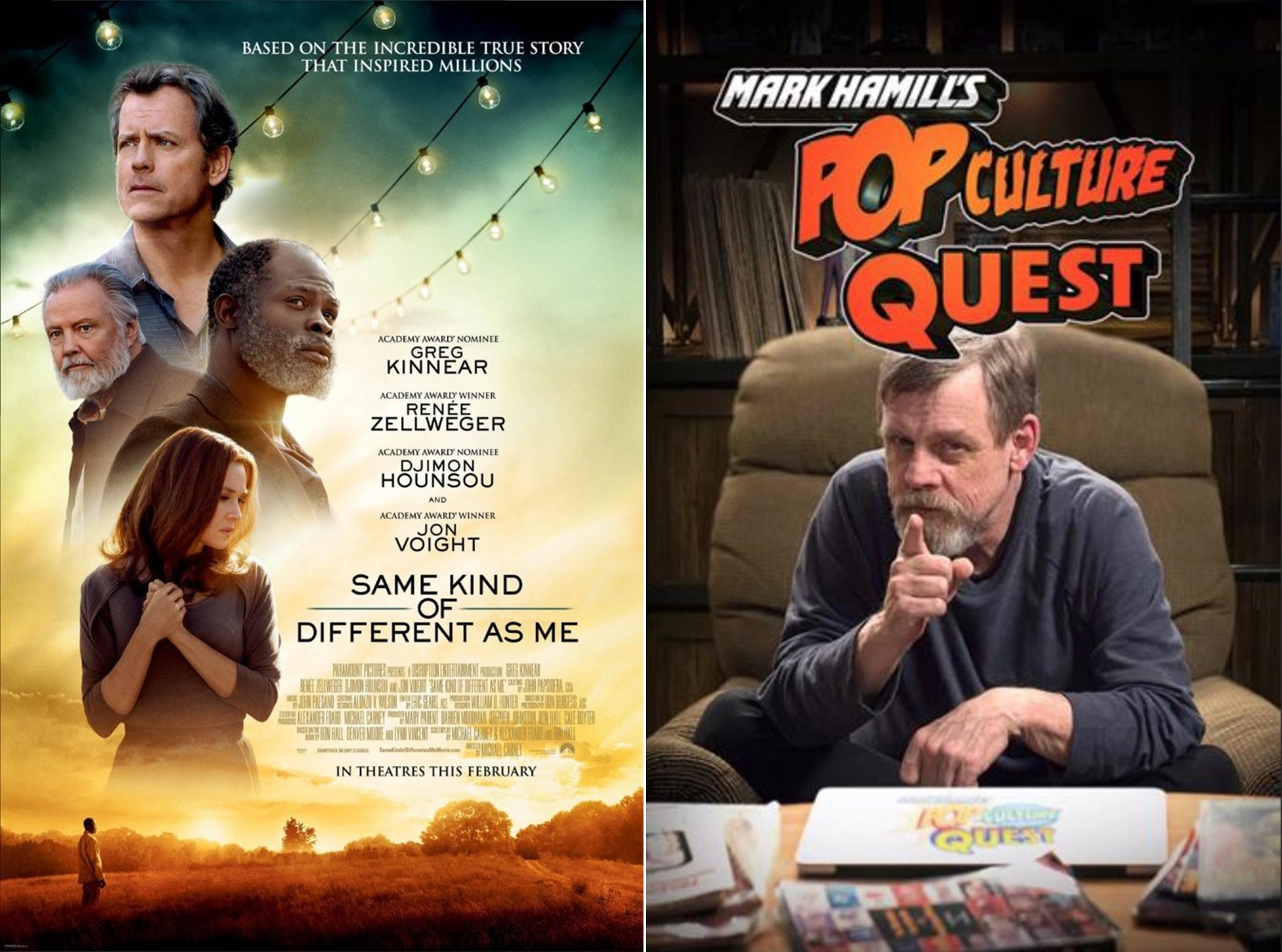 Image: (Left) 'Same Kind of Different As Me' and 'Mark Hamill's Pop Culture Quest'